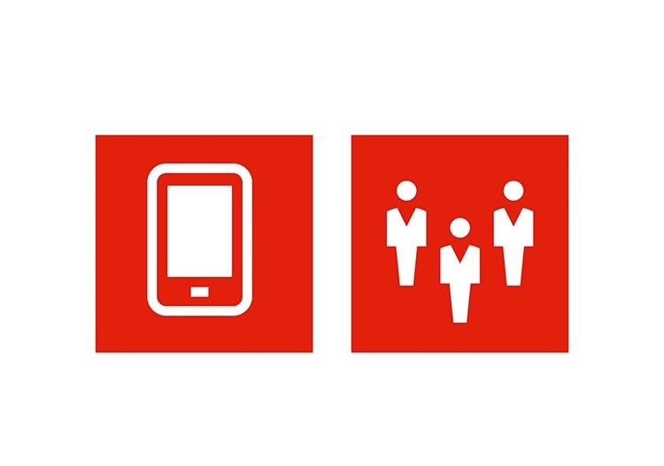 Smartphone und drei Männchen als Icon