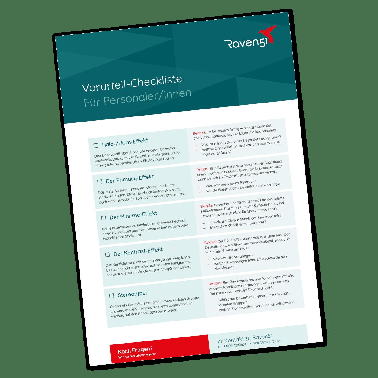 Checkliste Voruteile im Vorstellungsgespräch